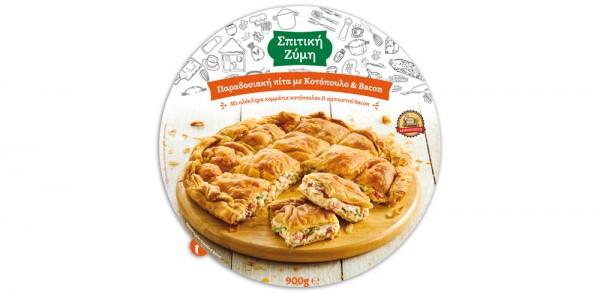 Νέα παραδοσιακή πίτα με κοτόπουλο και bacon