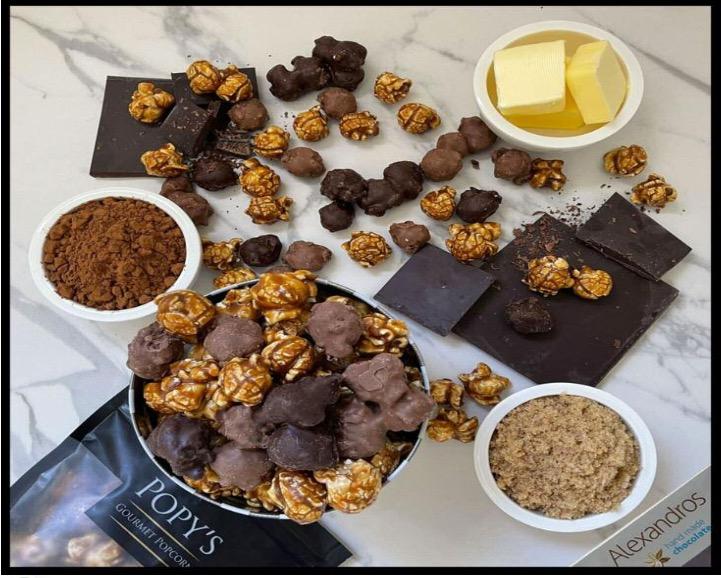 Popcorn με σοκολάτα και καραμέλα